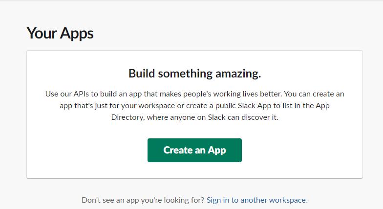 Slackアプリ新規作成画面1